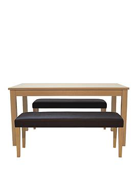primo-dining-table-150-cm-2-faux-leather-benches