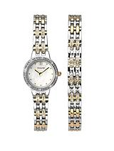 Stone Set Two-Tone Stainless Steel Bracelet Ladies Gift Set