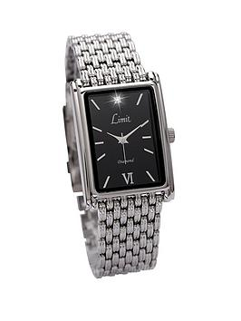 limit-silver-tone-bracelet-square-face-black-dial-mens-watch
