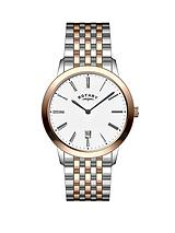 Rose Gold and Stainless Steel Bracelet Mens Watch