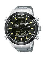 Duo Display Multifunction Black Dial With Yellow Accents, Stainless Steel Bracelet Mens Watch