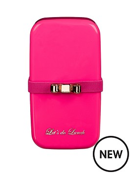 ted baker small fluro pink bento lunch box. Black Bedroom Furniture Sets. Home Design Ideas