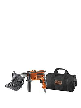 black-decker-kr714s32-gb-710w-corded-percussion-hammer-drill-plus-a7216-xj-32-piece-accessory-set-in-softbag