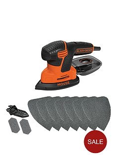 black-decker-ka2000at-gb-120w-new-compact-mouse-sander-with-10-sanding-sheets-and-storage-tin