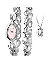 Silver Tone Pink Dial Crystal Set Watch, Bracelet and Pendant Gift Set