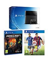 Console with FIFA 15 and Minecraft