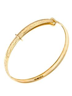 love-gold-9-carat-yellow-gold-baby-double-heart-pattern-expander-bangle