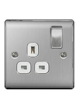 british-general-brushed-steel-13a-1g-double-switched-socket-white-surround