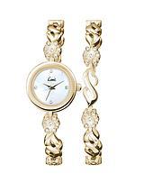 Gold Tone Stone Set Ladies Watch and Matching Bracelet Gift Set