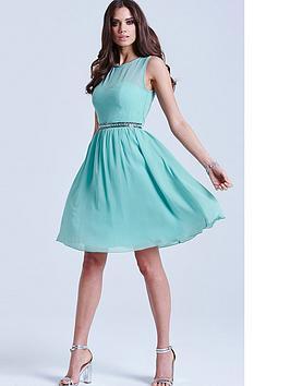 little-mistress-sage-mesh-insert-embellished-dress