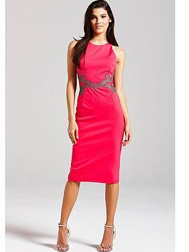 little-mistress-pink-and-metallic-mesh-insert-dress