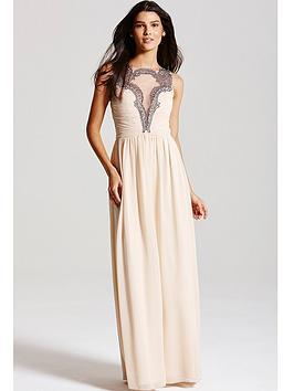 little-mistress-nude-chiffon-mesh-insert-maxi-dress