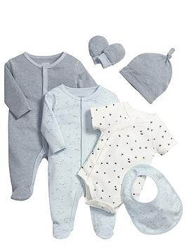 mamas-papas-baby-boys-blue-sleepsuitsnbspand-bodysuits-gift-set-6-piece