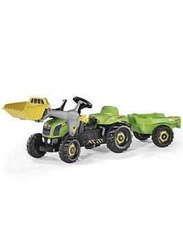 rolly-toys-green-tractor-with-front-loader-trailer