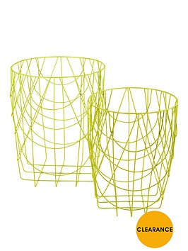 set-of-2-round-wire-baskets-no-handles-lime