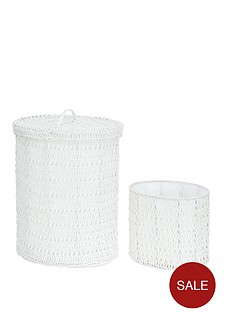 oval-crochet-laundry-hamper-with-waste-paper-basket