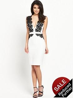 lipsy-mono-trim-front-bodycon-dress