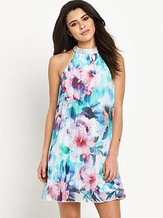 lipsy-bluenbspfloral-pleated-swing-dress