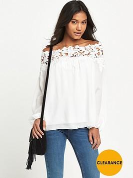 lipsy-lace-trim-bardot-blouse