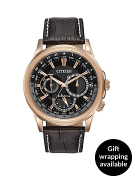 citizen-citizen-eco-drive-calendrier-black-dial-day-date-rose-gold-tone-case-dark-brown-leather-strap-mens-w