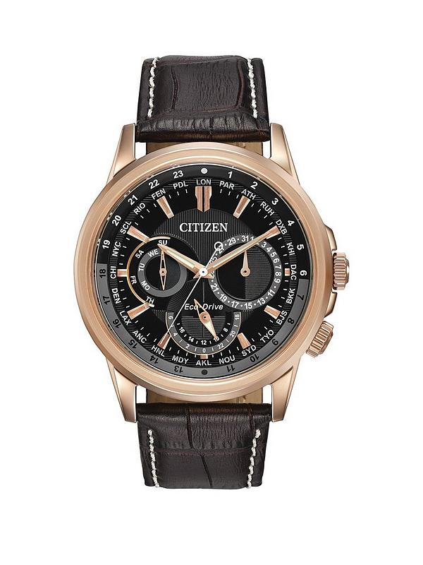 Calendrier Case.Citizen Eco Drive Calendrier Black Dial Day Date Rose Gold Tone Case Dark Brown Leather Strap Mens W