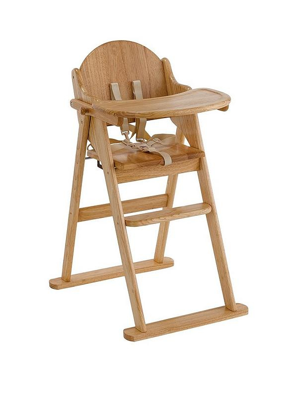 Swell Wooden Folding Highchair Natural Evergreenethics Interior Chair Design Evergreenethicsorg