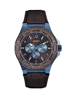 guess-guess-brown-dial-sky-blue-case-brown-leather-strap-mens-watch