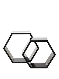 set-of-2-hexagon-shelves-black