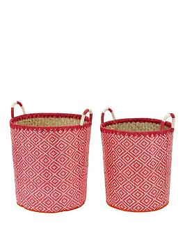 set-of-2-laundry-hampers-red