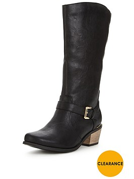 v-by-very-clifton-western-detail-gold-trim-calf-boot-black-wide-fit
