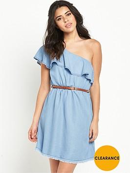 river-island-one-shoulder-frill-denim-dress