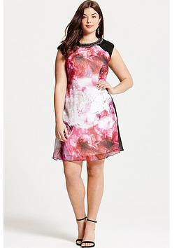 little-mistress-curve-blurred-floral-print-embellished-neck-shift-dress