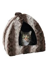 Grey & Cream Snuggle Plush Pyramid Bed - 16 Inch