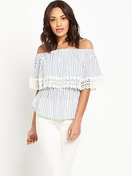 v-by-very-bardot-crochet-trim-top