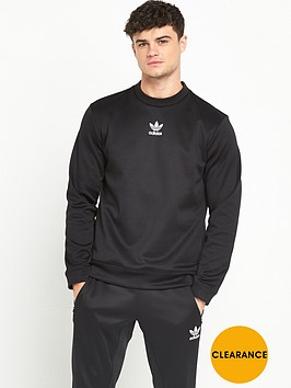 adidas-originals-black-woven-crew-neck-sweat