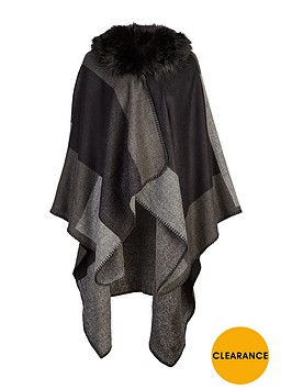 v-by-very-faux-fur-trim-collar-patchwork-cape