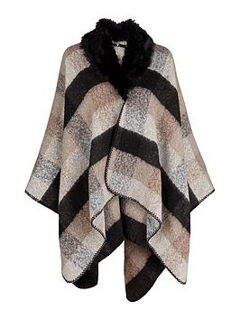 v-by-very-faux-fur-trim-collar-boucle-blanket-check-cape