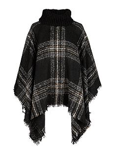 v-by-very-ribbed-neck-boucle-check-poncho-cape