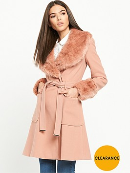 miss-selfridge-belted-waist-coat-withnbspfaux-fur-collar-pink