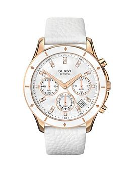 seksy-seksy-mother-of-pearl-dial-chronograph-white-leather-strap-ladies-watch