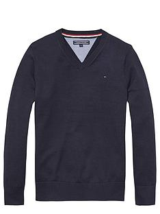 tommy-hilfiger-vee-neck-sweater-midnight