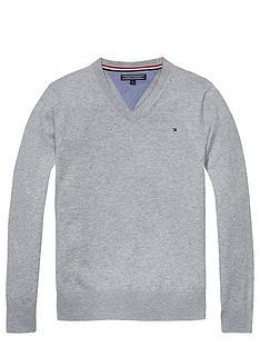 tommy-hilfiger-vee-neck-sweater-grey