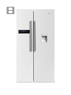 swan-sr70110wnbsp90cm-american-style-double-door-frost-freenbspfridge-freezer-with-water-dispenser-white-gloss-finish