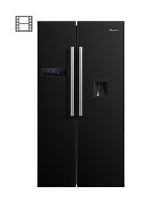 swan-sr70110bnbsp90cm-american-style-double-door-frost-free-fridge-freezer-with-water-dispenser-black-doorstep-delivery-only