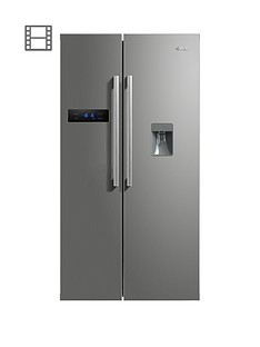 swan-sr70110snbsp895cm-american-style-double-door-frost-free-fridge-freezer-with-water-dispenser-silver