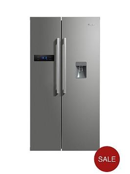 swan-sr70110snbsp90cm-american-style-double-door-fridge-freezer-with-water-dispenser-silver