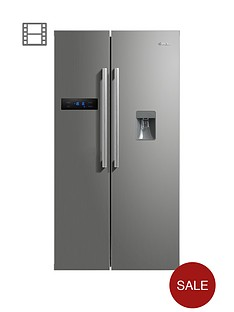swan-sr70110snbsp90cm-american-style-double-door-frost-free-fridge-freezer-with-water-dispenser-silver