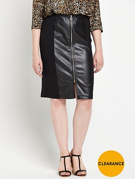 so-fabulous-pu-panel-zip-ponte-jersey-skirt-black