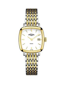 rotary-windsor-cushion-stainless-steel-two-tone-mesh-bracelet-ladies-watch