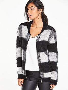 v-by-very-checked-brushed-knit-bomber-jacket